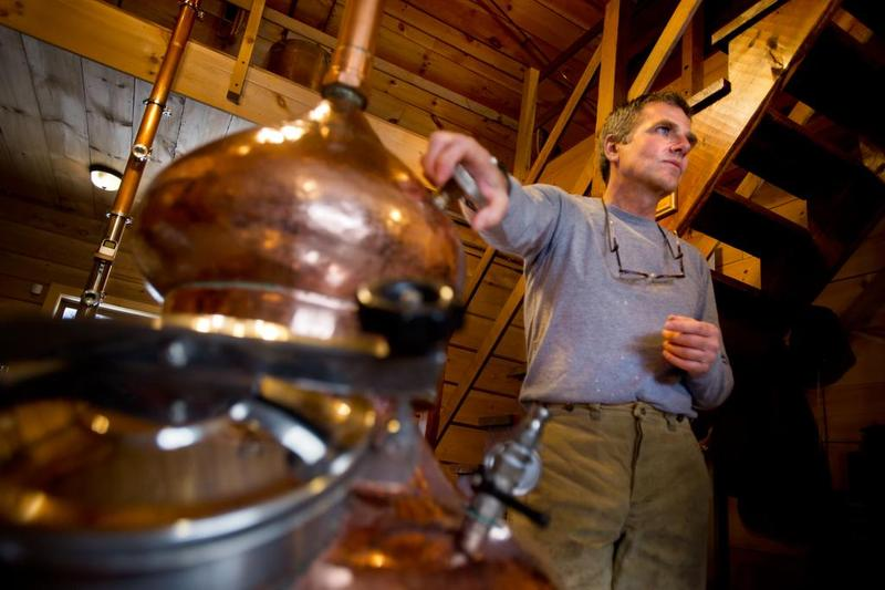 David Howe owns Elm Brook Farm in East Fairfield, which produces a variety of liquors made from distilled maple syrup, and is part of the growing micro-distillery movement in Vermont.