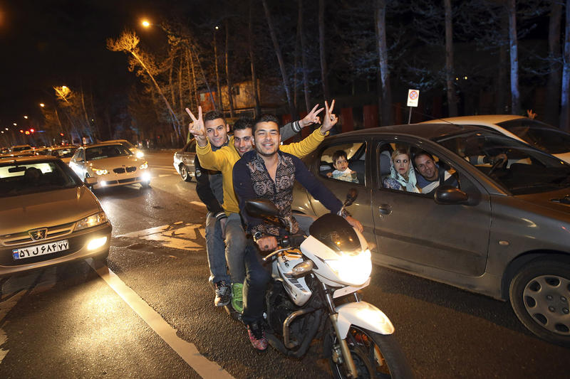 Iranians celebrate on a street in northern Tehran Thursday after Iran's nuclear agreement with world powers in Lausanne, Switzerland. Rep. Peter Welch says the agreement is a good start.