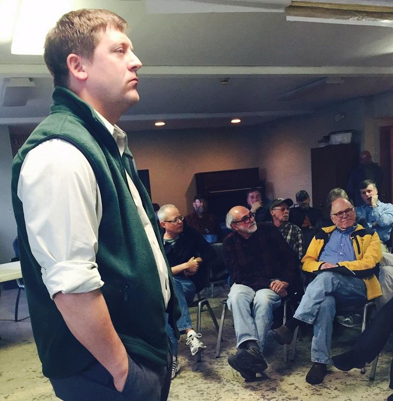 Louis Porter, Vermont Fish and Wildlife Commissioner, fields comments and questions from residents affected by new rules proposed for the state-owned Hammond Cove gun range in Hartland.
