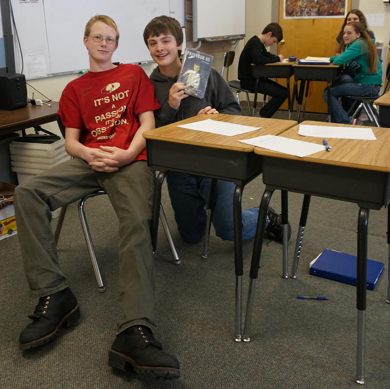Browntington eighth graders Evan Glodgett and Zachary Barrup pose with a copy of 'Prisoner 88.'
