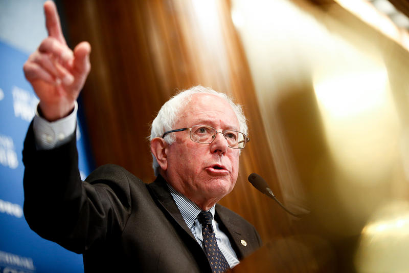 Sen. Bernie Sanders, I-Vt., speaks at a luncheon at the National Press Club on Monday, March 9, 2015 in Washington. VPR has learned that Sanders will announce his candidacy for the Democratic presidential nomination on Thursday.