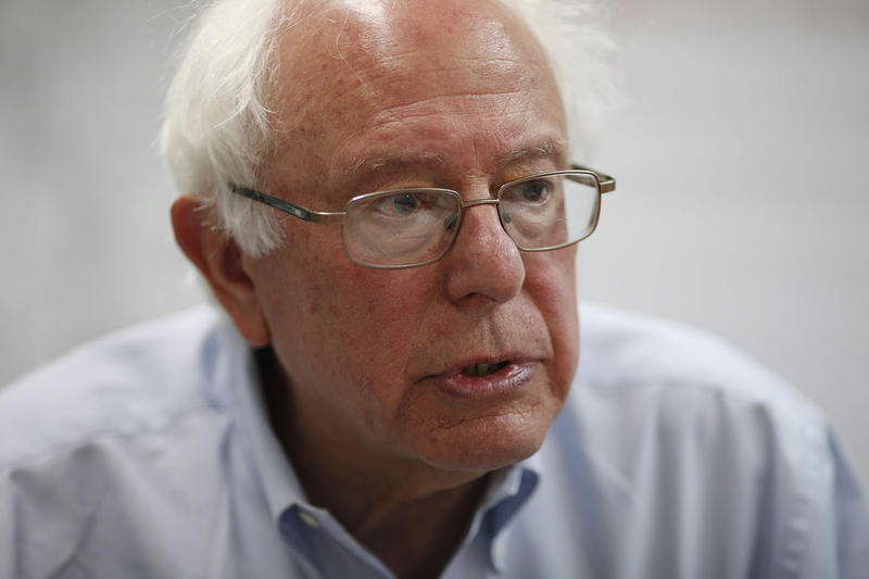 Sen. Bernie Sanders speaks after a town hall meeting at the Culinary Workers Union in Las Vegas in March. Sanders opposes the 12-nation trade agreement backed by President Obama, saying that it could endanger U.S. manufacturing jobs.