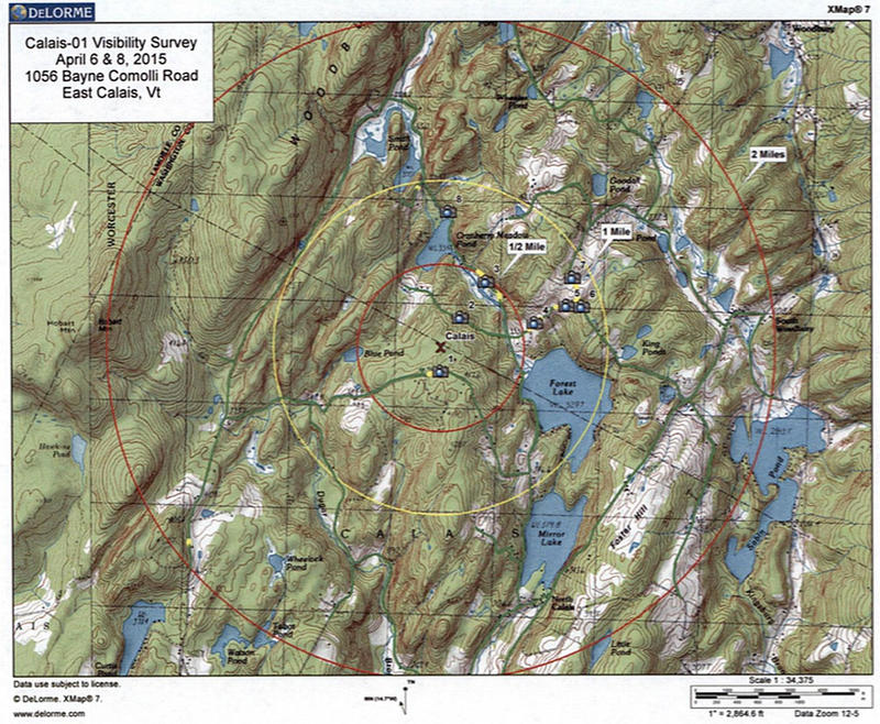 A map shows the visibility in a two-mile radius of a proposed VTel broadband tower in Calais. Since telecom companies expanding broadband in Vermont aren't required to go through local zoning, Calais residents and officials say they're being circumvented.
