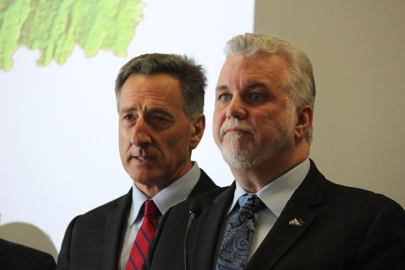 Gov. Peter Shumlin said Wednesday he hopes to increase collaboration with Quebec premiere Philippe Couillard, shown in this March photo, in economic development efforts.