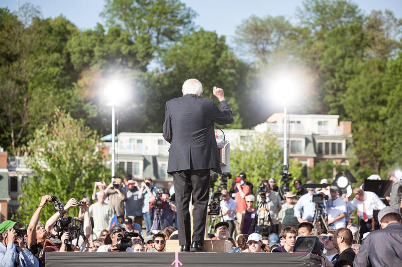 "Sanders outlined a campaign platform squarely centered on fighting income inequality. ""The issue of wealth and income inequality is the great moral issue of our time,"" he said, listing off a slew of statistics to illustrate his point."