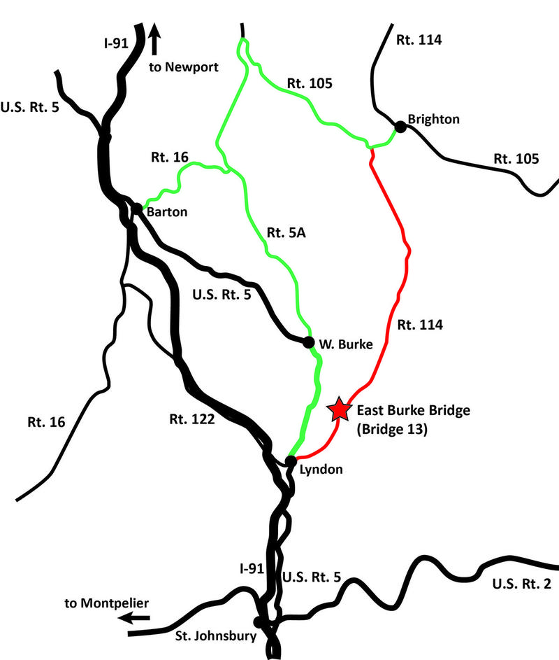 Starting next week the Vermont Agency of Transportation will replace a bridge on Route 114 in the village of East Burke. Traffic will be detoured around the village for three weeks.