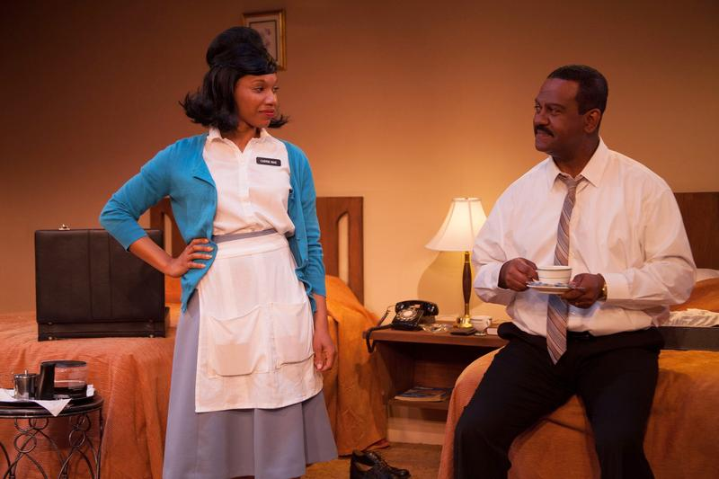 "Myxolydia Tyler and Jolie Garrett star in Vermont Stage's production of ""The Mountaintop."""