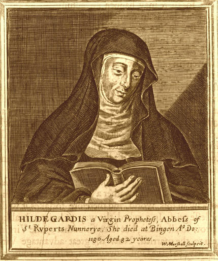 "Hildegard of Bingen was a female composer in the 12th century. Her play, ""The Play of Virtues."" is unique in that it written for only female voices at a time when male voices dominated almost every aspect of the church."