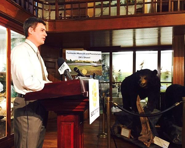 Adam Kane, Director of the Fairbanks Museum in St. Johnsbury, explains the Museum's growing reliance on solar energy at a press conference held by the Waterbury-based company, SunCommon.