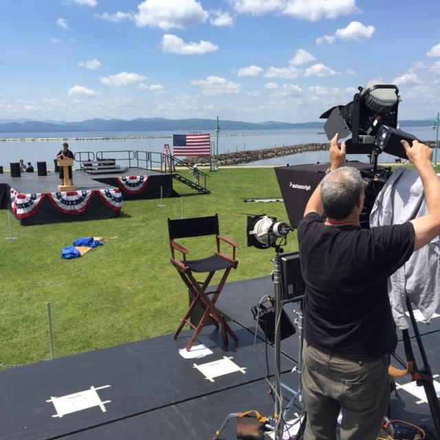 The press has begun setting up for Bernie Sanders' formal campaign kickoff at Burlington's Waterfront Park. Follow VPR for live coverage beginning at 5 p.m.