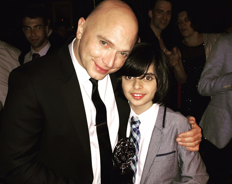 "Oscar Williams, right, is pictured here Sunday with Michael Cerveris, who won a Tony award for best actor for his performance in ""Fun Home."" Williams, from Charlotte, also acts in the show, which won a Tony for best musical."