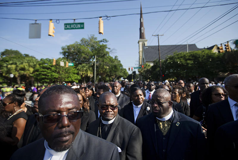 Clergy members enter the funeral service for Sen. Clementa Pinckney on June 26 in Charleston, S.C. The shooting deaths of nine worshippers have spurred calls for tigher restrictions on gun ownership nationwide, but no big plans in Vermont.