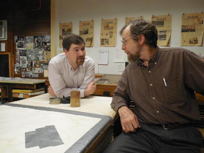 Tim Calabro, left, will take over from M.D. Drysdale to become only the fifth publisher in the 140-year history of The Herald of Randolph.