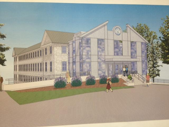 Digital rendering of the College of St. Joseph's new Health Professions Building in Proctor. Built in 1923 as a headquarters for the Vermont Marble Company, it is currently under rennovation to house the college's new Physicians' Assistant program.