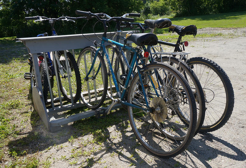 These bikes at the Oxbow Park in Morrisville are just waiting to be borrowed. Town Planning Director Todd Thomas says the bikes are available for locals and tourists alike to use for free.