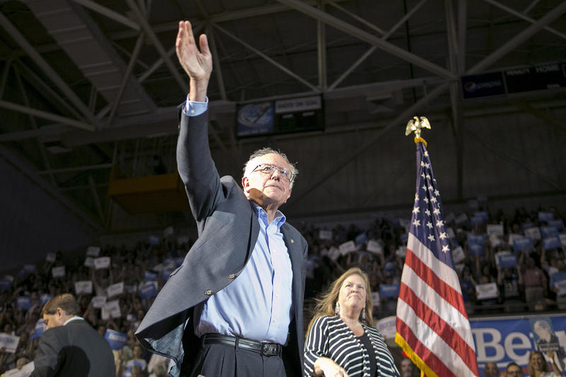 Sen. Bernie Sanders appears with his wife Jane at a rally in Portland, Maine on June 6.