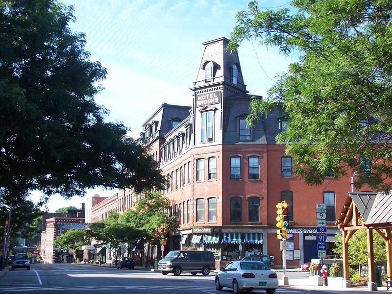 A street corner in downtown Brattleboro, Vermont