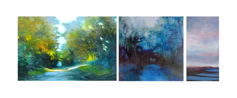 Julia Jensen, a painter from Putney, paints landscapes and abstracts in oil and encaustic. Her works are on display at the West Branch Gallery in Stowe.