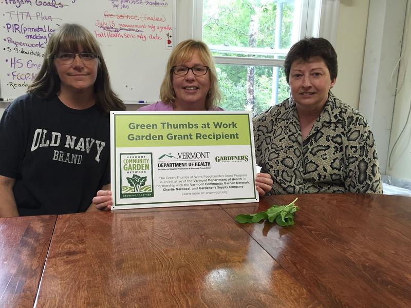 Lynne Forcier, Linda Michniewicz and Julie Lamoureux (left to right) are three of the employees at NEKCA Head Start who are active in their office's employee garden.