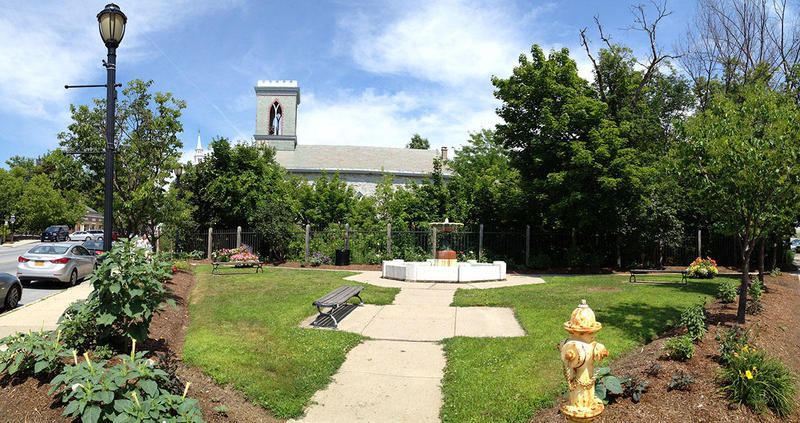 St. Stephen's Episcopal Church in Middlebury sits just above the railroad tracks where a major construction project is planned.