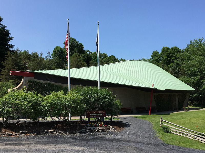 The Mount Independence Welcome Center is shaped like an overturned French bateau.