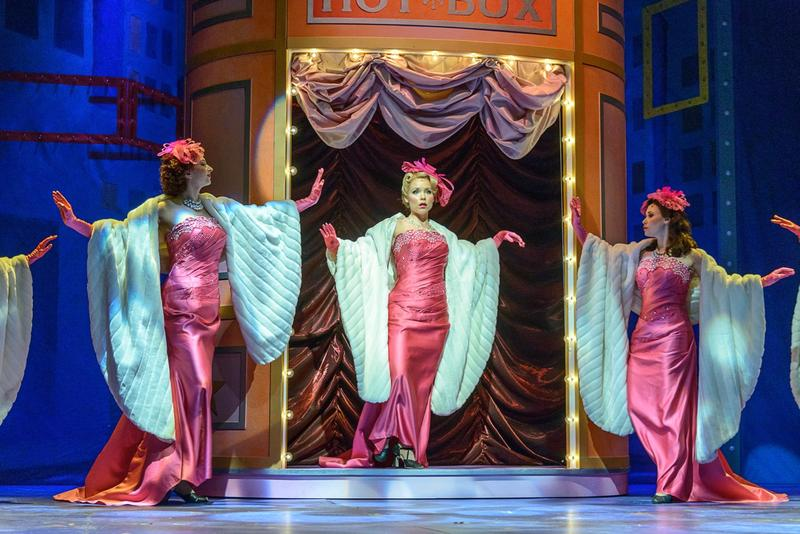 """Marissa McGowan, playing Miss Adelaide, sings """"Take Back Your Mink,"""" during """"Guys and Dolls"""" at the Weston Playhouse Theatre."""