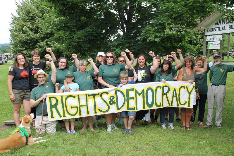 The newly-formed Rights and Democracy group is permitted to promote specific candidates. It's lead by James Haslam, who previously served as head of the Vermont Workers Center. ISAAC GRIMM RIGHTS & DEMOCRACY