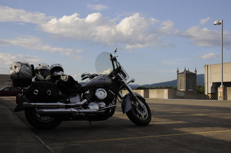 A lone motorcycle sits atop a parking garage in Rutland during the second annual Road Pitch, where a group of motorcycle-riding investors and entrepreneurs tour the state to get pitched by budding businesses looking for money, advice and connections.