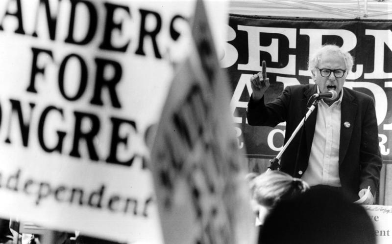 Bernie Sanders holds a rally to kick off his run for Congress in 1988. Sanders has always identified as a socialist, a label many Americans fear although it's common in other Western nations.