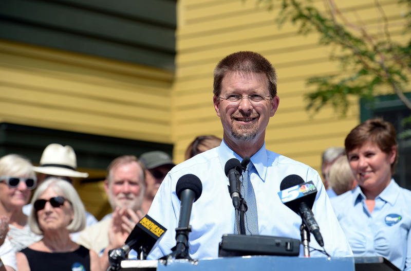House Speaker Shap Smith, shown here announcing his candidacy for Vermont governor in Morrisville on Aug. 19, has been undecided about legalization but now he says he'll work to pass a bill in the 2016 session.