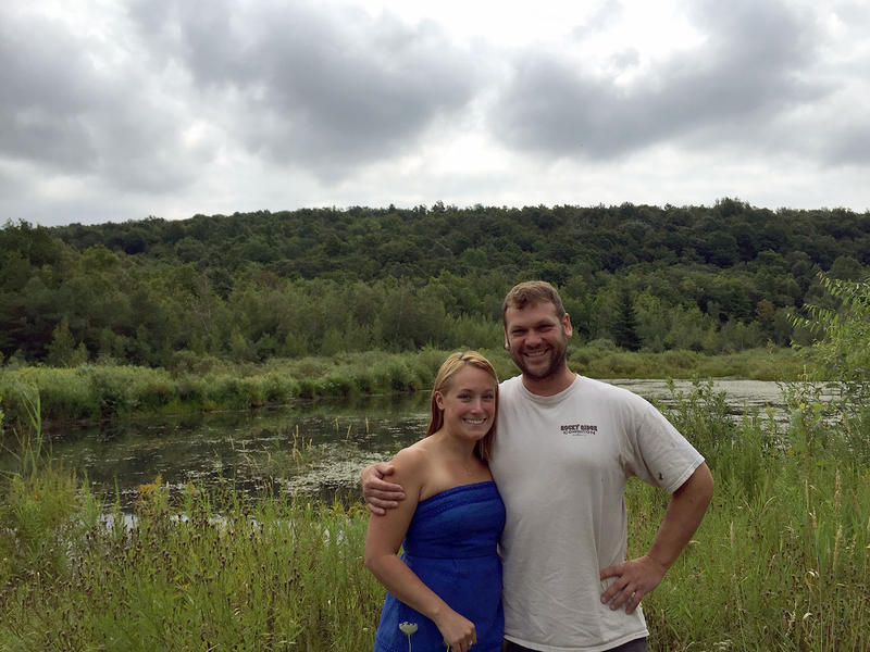 Travis Belisle and his wife Ashley are planning to propose a wind project on their land in Swanton that could include seven turbines up to 500 feet tall. But some neighbors are concerned about the scale of the project.