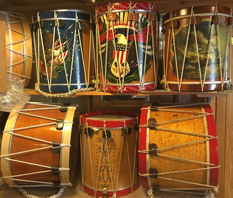 Drums sitting on a shelf at the Cooperman Company of Saxtons River.
