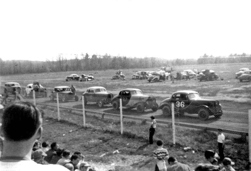 Drivers race on the Fairmont Park Motor Speedway in Fair Haven in 1950.