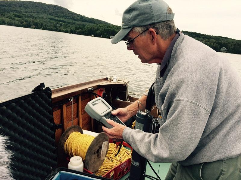Art Brooks, a retired biology professor from the University of Wisconsin, spends almost every summer day testing water quality in Lake Willoughby and mapping its depths.