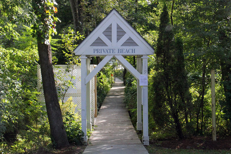 The entrance to the private beach in Burlington's New North End owned by the Strathmore Homeowners Association. Members were advised throughout the past moth about dangerous levels of E. Coli in the water at the beach.