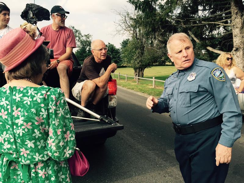 Former 'NYPD Blue' actor Gordon Clapp shoots a scene for 'Parmalee,' a web series created by John Griesemer, center, and his wife Faith Catlin, and set in a fictional version of the Upper Valley.