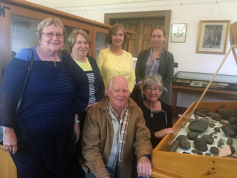 Volunteers Jean Peters, Jean Simmons, Doug Dows, Betty Lewis, Library Director Jane Spencer and archeologist Kat Raynor are all working on the cataloging project.