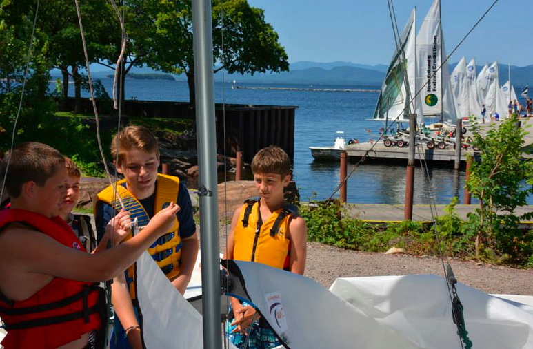 Kids learn to rig a sail as part of an after-school leadership training program run by the Community Sailing Center on Lake Champlain in partnership with Burlington school districts. The center and the schools provide funding to help low-income families.
