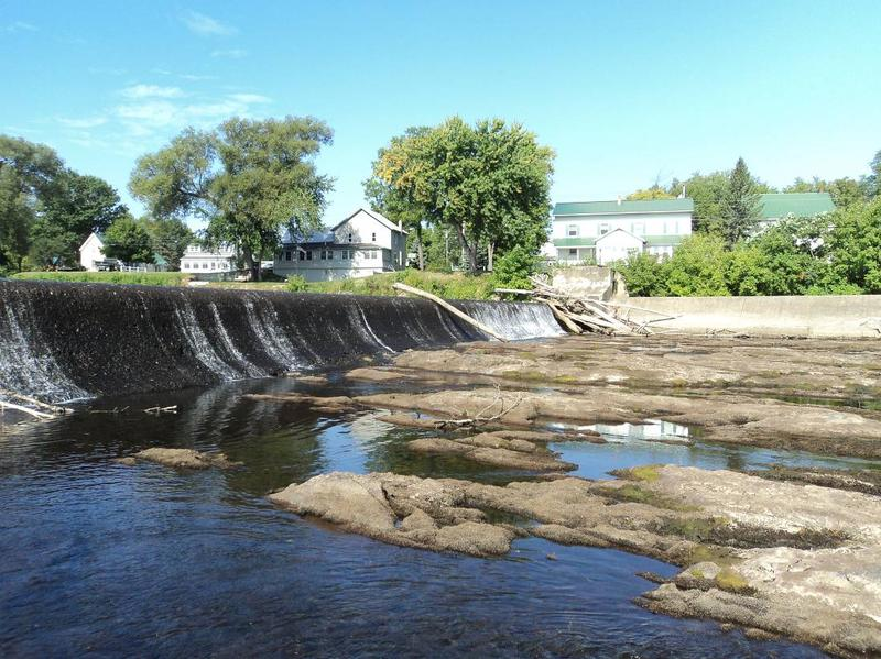 This photo, taken in 2015 by state Fish and Wildlife officials, shows that the riverbed below the Swanton dam dries up across much of the river channel when flows in the Missisquoi are low.