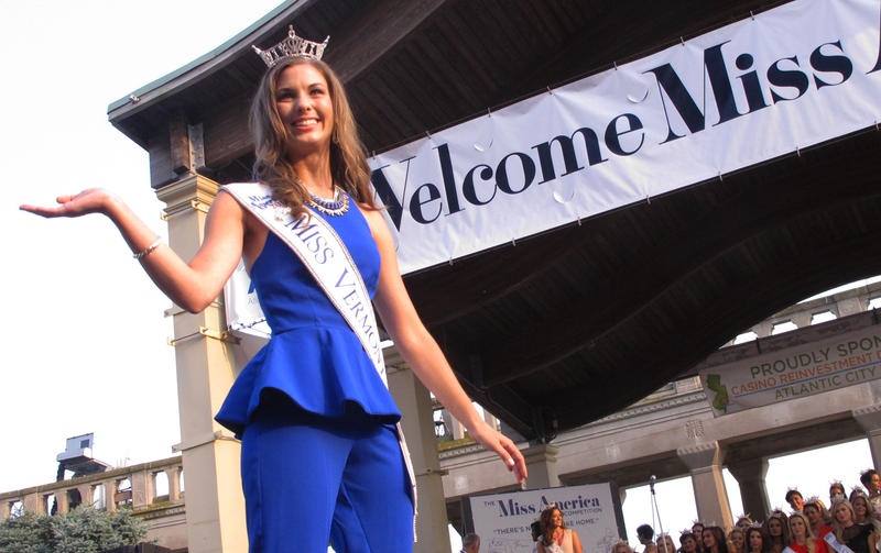 Miss Vermont Alayna Westcom poses during a welcoming ceremony in Atlantic City, NJ Sept. 1. Westcom conducted a science experiment for the talent portion of the Miss America 2016 competition.