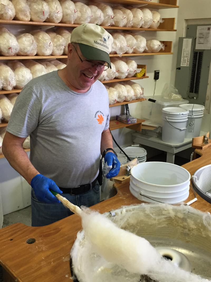 Gary Dean of Colchester prepares maple cotton candy at the Maple Sugar House.