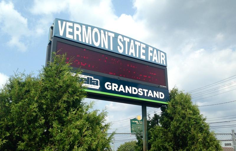 A sign off Route 7 in Rutland touts the opening of the 170th Vermont State Fair.