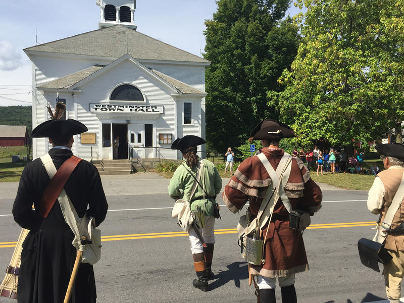 Members of the Royal American Reformers reenact the Westminster Massacre in Westminster Saturday. Some believe that two deaths in this town in March of 1775 were the first casualties of the American Revolutionary War.