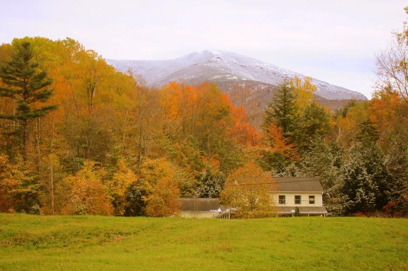 Brilliant foliage frames the view of Mount Mansfield from Underhill State Park.