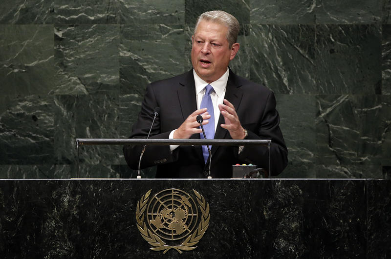 Al Gore in this file photo from 2014. The former vice president spoke at UVM's Ira Allen Chapel on October 6, 2015.