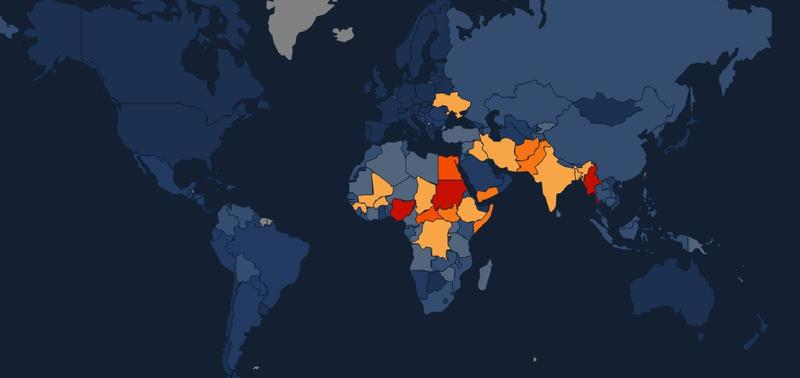 The Early Warning Project map shows which countries have the most statistical risk of experiencing a mass atrocity.