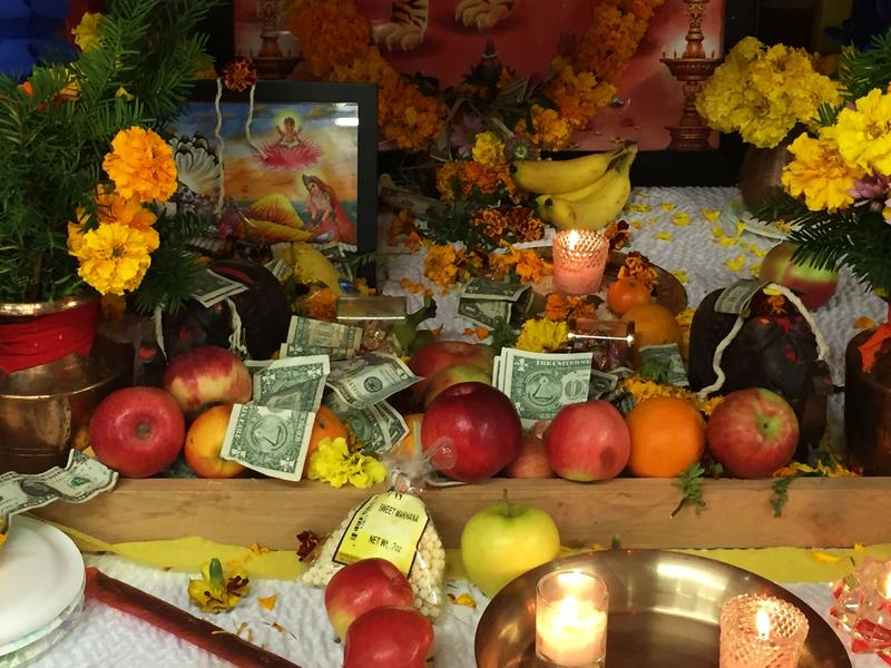 Vermont Hindu Temple set up an alter where attendees could worship by leaving fruit, money, candles and incense in celebration of one of the biggest annual holidays in the Hindu religion.