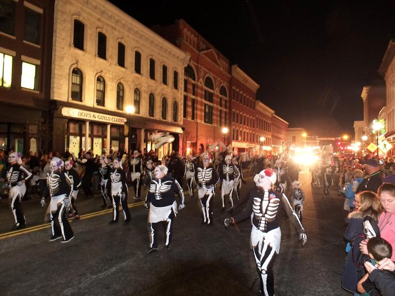 Members of Drum Journeys of Earth kick off last year's annual Halloween Parade in Rutland in skeletal style. Upwards of 10,000 people are expected for this year's event.
