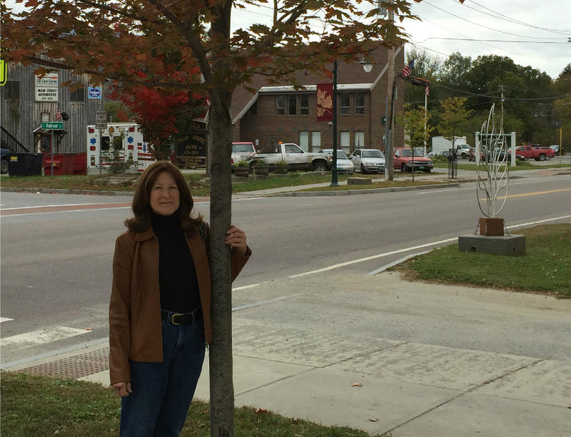 Tree Steward Sue Lovering stands beside a tree on Main St. in Johnson. Tree stewards keep Vermont's many trees healthy.