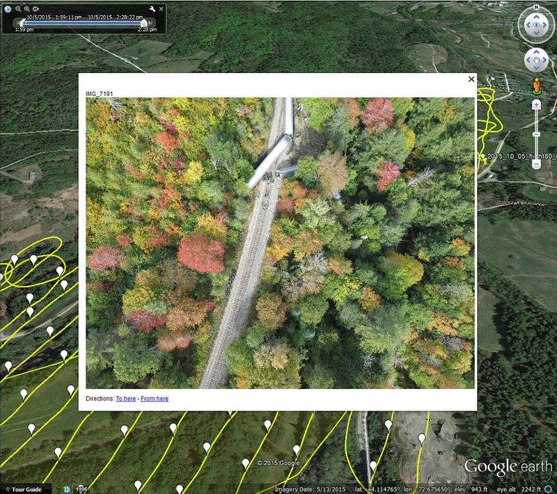 UVM's Spatial Analysis Laboratory deployed a drone to assist first responders in assessing the Amtrak derailment in Northfield on Oct. 5, 2015.